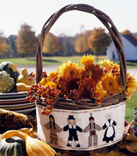 Fall Floral Basket with Native American/Pilgrim Cross Stitch