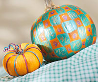 Pretty patterned painted pumpkins