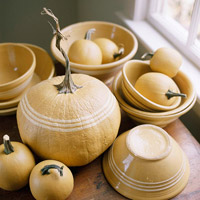 Pumpkins and terra cotta bowls