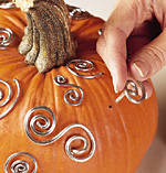 Instructional shot for silver swirl pumpkin