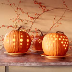 Holes carved into pumpkins