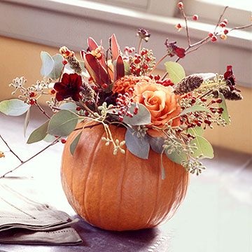 Pumpkin and Roses Centerpiece