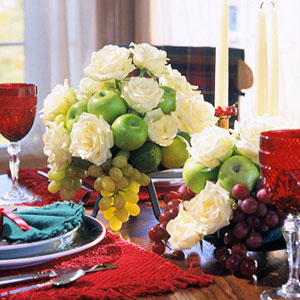 White rose, green apple and green grape centerpiece