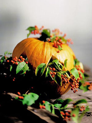 Pumpkin with greenery and red berries