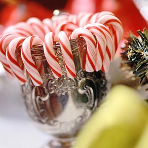 More Candy canes in small silver mug