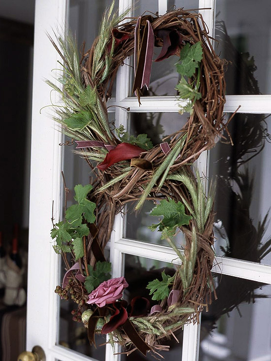 Grape vine wreath with greenery and flowers