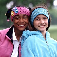 KidCozies_two_girls_with_headbands_pink_blue