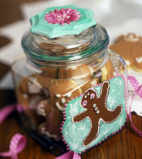Christmas Treat Jar with Gingerbread Man
