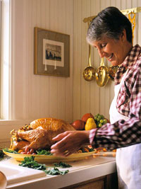 Lady Stuffing Turkey