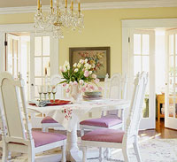 CottStyleSpr04_Yellow dinning room with white pink chairs