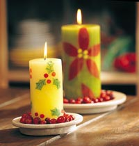 Poinsettia and Holly Candles