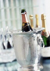 New Years Champagne in Ice Bucket E-Card