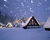 Cabins in snow