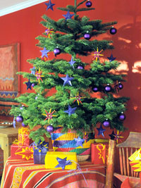Christmas tree with primary colored decorations
