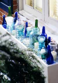 Glass Containers in a window box