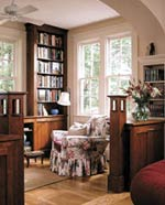 RoomRedos__Living room floral chair with bookcase