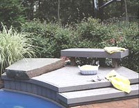 Small poolside deck surrounded by shrubs.