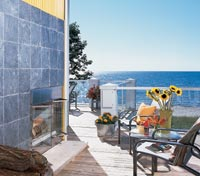 Seaside deck with fireplace