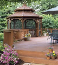 Redwood deck with benches and gazebo
