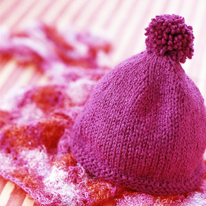 Red knit cap from Hat and Mittens