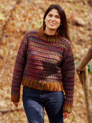 Woman wearing a brown striped knitted sweater