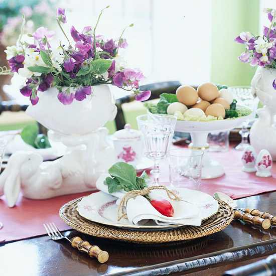 Easter breakfast table setting close up