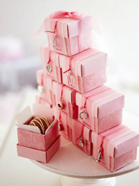 Stack of Pink Paper Boxes with Charms
