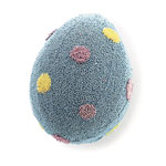 blue jeweled egg with yellow and pink dots