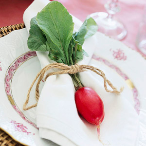 Easter Breakfast plate setting with radish