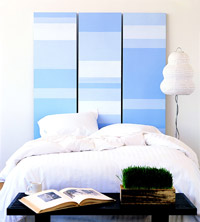 Blue painted headboard
