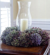 Hydrangeas with candle in center