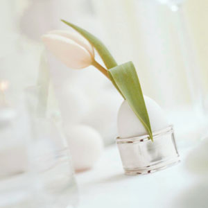 Tulip and egg in silver holder