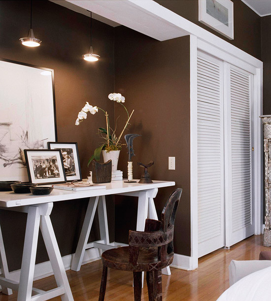 Home Office, White Desk with Decorated Dresser