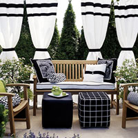 Bohemian black tie terrace seating area