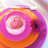 pink and orange place setting