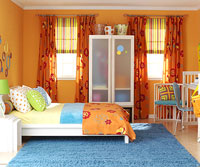 teen orange bedroom