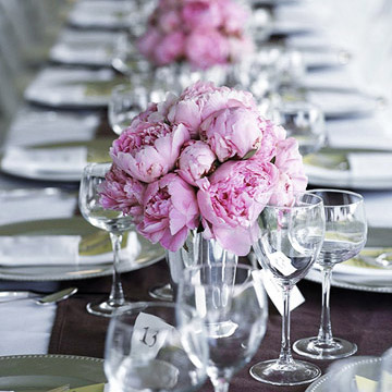 Long View of Table Settings, Pink Flower Center Pieces
