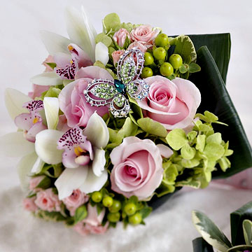 Pink and Green Bouquet with Butterfly Jewelry Accent
