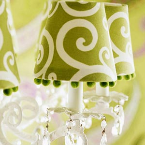 Close-up of lime green lamp with dangling jewels