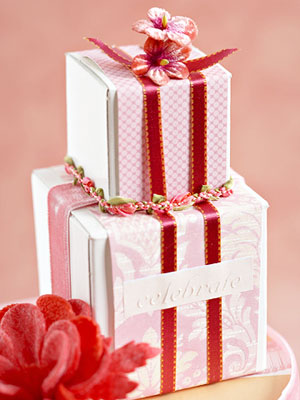 Party Favor, Wrapped in Pink and White Paper
