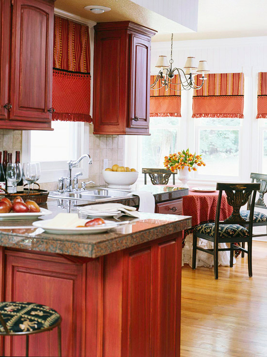 red kitchen, kitchen makeover, painted cabinets