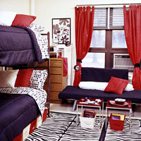 Dorm Room D�cor, Black white, and red d�cor dorm room