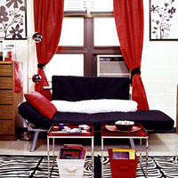 Dorm Room D�cor, Sitting area, Futon and coffee tables, window curtains