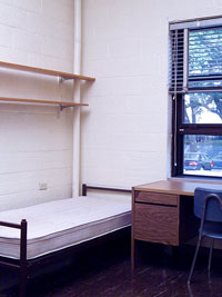 Dorm Room D�cor, Empty dorm, bed and desk