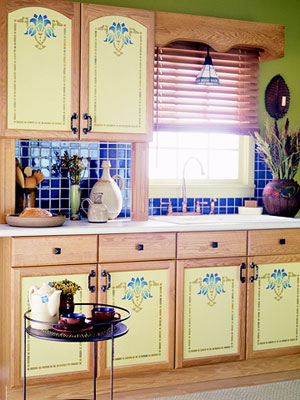 stenciled cabinets, kitchen makeover, Arts and Crafts style