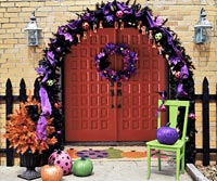 Trick or Treat decorated entry way