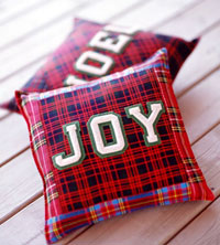 Decorative Christmas Pillows, Noel, Joy