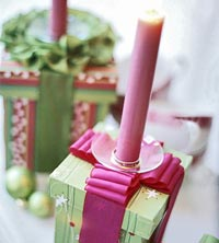 Presents with candle holder tops