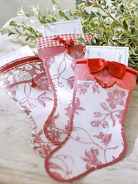 Holiday stockings with red bows