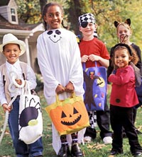 Costumed trick-or-treaters